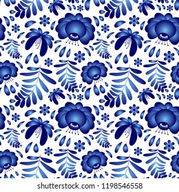 Vector flower seamless pattern background in traditional Russian Gzhel pottery ornament style design