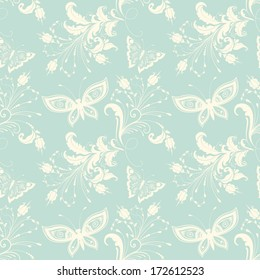 Vector flower seamless pattern background. Elegant texture for backgrounds. With butterfly and flowers.