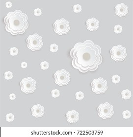 Vector flower seamless pattern element. Elegant texture for backgrounds. 3D elements with shadows and highlights. Paper cut