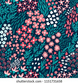 Vector flower seamless pattern. Endless repeated texture with flowers, leaves, branches. Floral background.