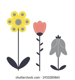 Vector flower set in a flat style.