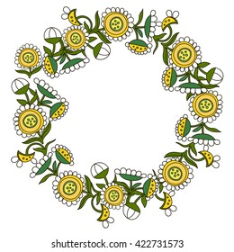 Vector flower structure,  has agreed with daisies in the form of a wreath, camomile. The summer card, wedding projects on a white background