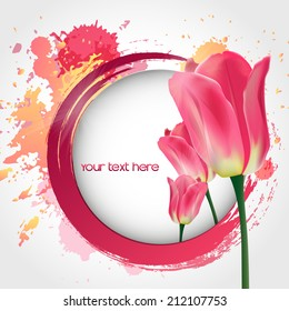 Vector flower tulip. Vector background with Flower. art .Style. Design.