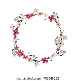 Vector flower wreath. Floral frame for greeting, invitation, wedding cards design.
