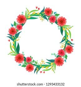 Vector flower wreath. Greeting card and Ecard, vector invitation