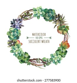 Vector flower wreath of succulents in a watercolor style. Vintage floral wreath. Decorative floral element for design of invitations, covers, notebooks and other items. Floral wreath ?1