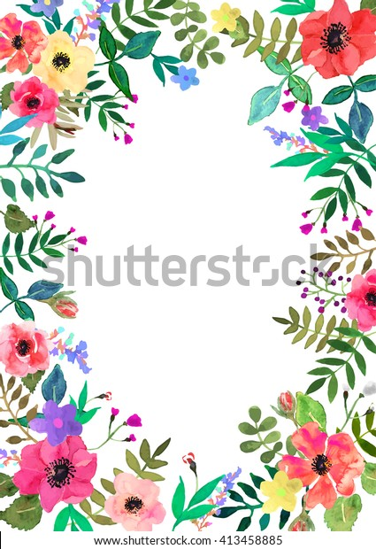 Vector Flowers Background Frame Colorful Floral Stock Vector