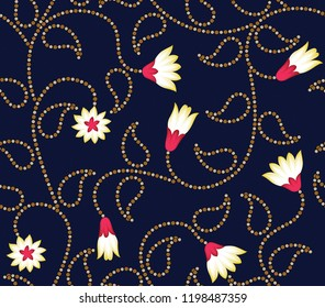 vector flowers with bandana pattern on navy background