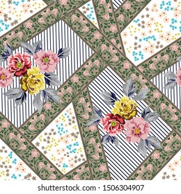 vector flowers with bandanna pattern
