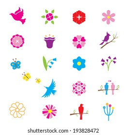 Vector flowers, birds on branches and butterflies. Elements for decoration and patterns
