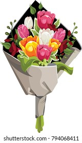 Vector flowers bouquet. Pink, yellow, white roses and green leaves.