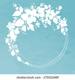 vector flowers circle frame. It can be used for invitation, card, postcard, cover.
