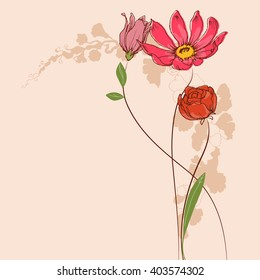 Vector flowers. Floral greeting card