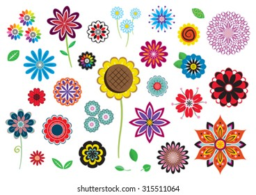 Vector flowers and leaves