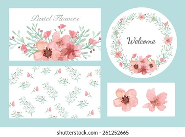 Vector of flowers and leaves design set in pastel collection