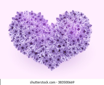 Vector flowers lilac floral shape of heart