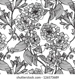 Vector flowers monochrome seamless pattern