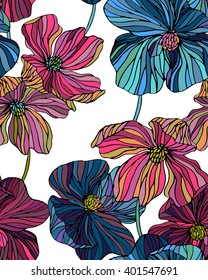 vector flowers pattern, line art poppies seamless design. colorful romantic flowers in vertical layout for wallpaper
