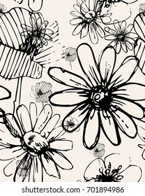 Vector flowers seamless pattern. Abstract print with brush strokes. Monochrome hand drawn texture. with white stripes background.