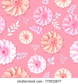 Vector flowers seamless pattern element. Elegant texture for backgrounds. 3D elements with shadows and highlights. Paper flowers.