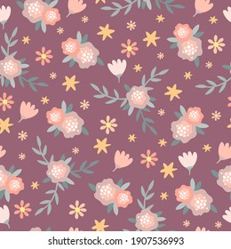 vector flowers seamless pattern. pastel colors. purple and pink bloom