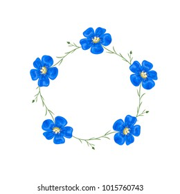 Vector flowers set. Beautiful wreath. Elegant floral collection with isolated blue flowers