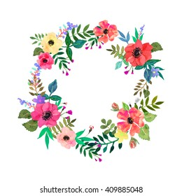 Vector flowers set. Beautiful wreath. Elegant floral collection with isolated leaves and flowers, hand drawn watercolor. Frame with flowers for design. Design for invitation, wedding or greeting cards