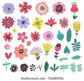 Vector flowers set. Floral collection
