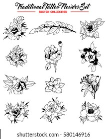 6eca6d7ef Vector Flowers Set Traditional Tattoo Designs Sketch Collection Original  Stickers Rose, Lily, Peony