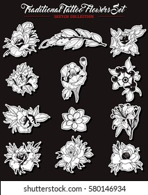 Vector Flowers Set Traditional Tattoo Designs Sketch Collection Original Stickers Rose, Lily, Peony