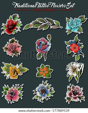 Vector Flowers Set Traditional Tattoo Designs Stock Vector Royalty