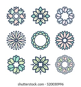 Vector flowers in thin line style and pastel colors. Floral pattern, flower icons and decorative elements.