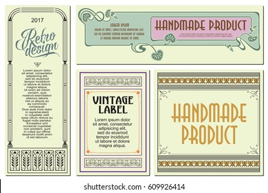 Vector flowers vintage labels on different versions for decoration and design.