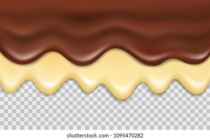 Vector flowing delicious chocolate and vanilla cream isolated on transparent background