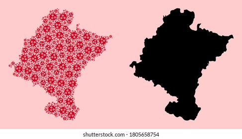 Vector flu virus mosaic and solid map of Navarra Province. Map of Navarra Province vector mosaic for geographic campaigns and propaganda. Map of Navarra Province is formed from red virus ojects.