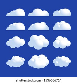 Vector Fluffy realistic cloud icon set. Shine sky weather clean vector set isolated on blue. Cloudscape and 3d clouds nature fluffy in air.