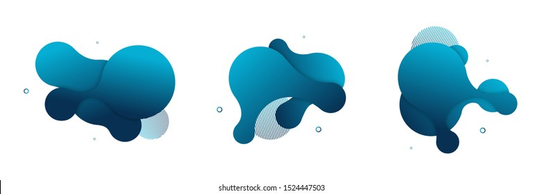 Vector fluid isolated abstract geometric coral blue gradient shapes for modern website and graphic design on the white background. Concept of dynamic composition and liquid color element.