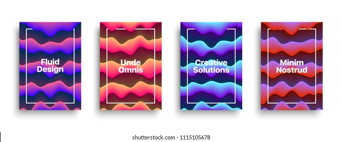 Vector Fluid Liquid Vivid Design Templates for Brochure, Flyer, Cover, Book Background. Fluid Abstract Conceptual Colorful Background