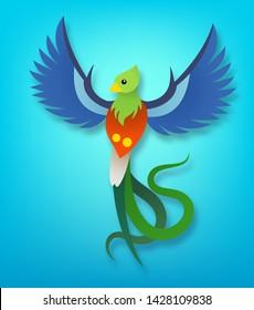 Vector fluing cartoon quetzal, paper cut art style, simbol of Guatemala, illustration for children alphabet letter q