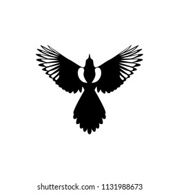 vector fly magpie silhouette