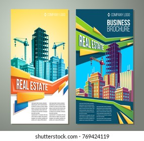 Vector flyer, banner, day urban background with modern big city buildings, skyscrapers, business centers and space for your text. Advertising banner for a real estate agency