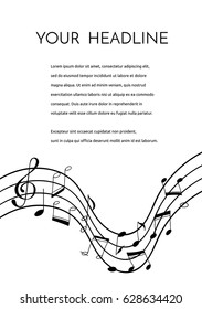 a vector  flyer or brochure template with hand drawn doodle musical notes and a treble clef; perfect for any musical events or a festival; black and white