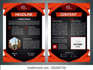 Vector flyer, corporate business, annual report, brochure design and cover presentation with red traingle