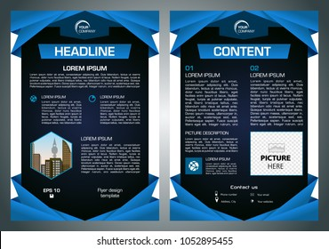 Vector flyer, corporate business, annual report, brochure design and cover presentation with blue traingle