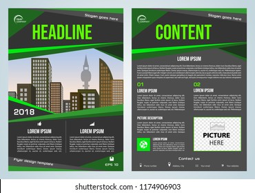 Vector flyer, corporate business, annual report, brochure design and cover presentation with green traingle