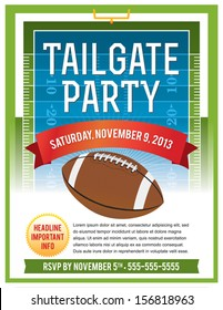 A vector flyer design perfect for tailgating parties, football game viewing invites, etc. EPS 10. File contains transparencies. Text is layered for easy removal and customizing.