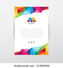 vector flyer design template, letterhead with colorful low poly art style details and company logo