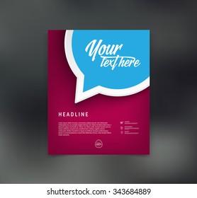 Vector flyer design template with speech bubble