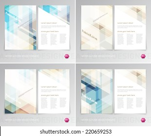 Vector flyer design templates collection with light modern hi-tech backgrounds