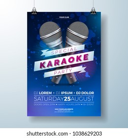 Vector Flyer illustration on a Karaoke Party theme with microphones and ribbon on dark blue background.